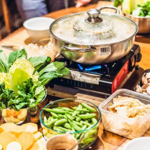 hot pot, table, veggies